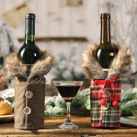 19 years Christmas new table wine bottle decoration striped plaid skirt wine bottle set wine set NHHB182580's discount tags