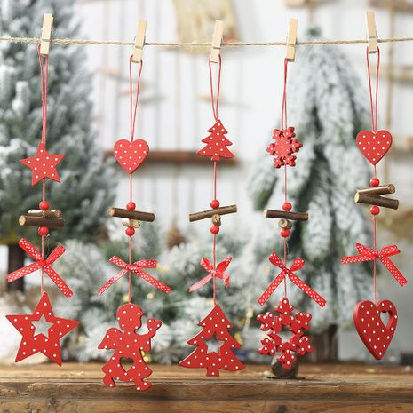 Christmas new red polka dot wooden pendant five-star Christmas tree creative pendant bow love pendant NHHB182581's discount tags
