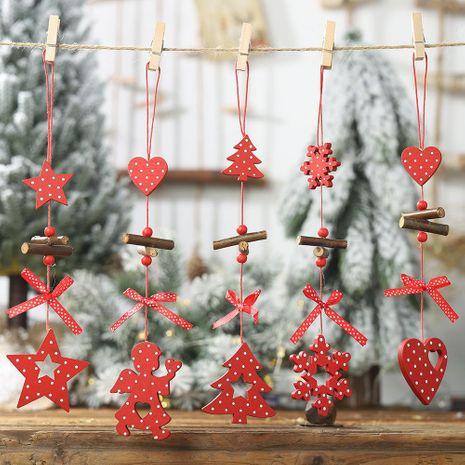 Navidad nuevo colgante de madera de lunares rojos árbol de Navidad de cinco estrellas colgante creativo arco colgante de amor NHHB182581's discount tags
