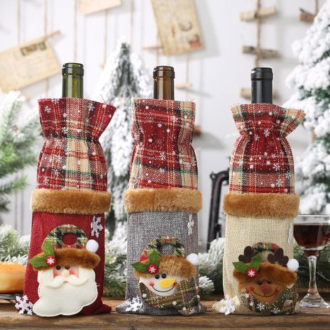 New Christmas decorations wine bottle cover plaid sack wine bottle decoration wine champagne bottle bag NHHB182583's discount tags