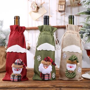 Christmas Decorations Christmas Bottle Set Wine Champagne Bottle Bag Dining Table Dress Up NHHB182582's discount tags