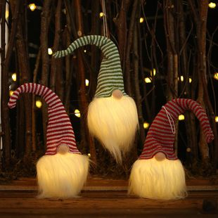 Christmas decoration supplies lamp faceless doll decoration glowing forester pendant NHHB182584's discount tags
