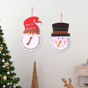 New Christmas decoration cartoon snowman alarm clock non-woven elderly clock creative wall clock pendulum clock NHHB182585's discount tags
