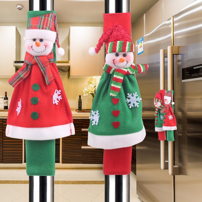 New Christmas supplies Microwave oven gloves Cartoon flannel Snowman Refrigerator Oven protective sleeve NHHB182586