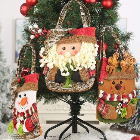 New Christmas decoration supplies 19 imitation bark gift bag creative three-dimensional elderly snowman deer gift bag NHHB182587's discount tags