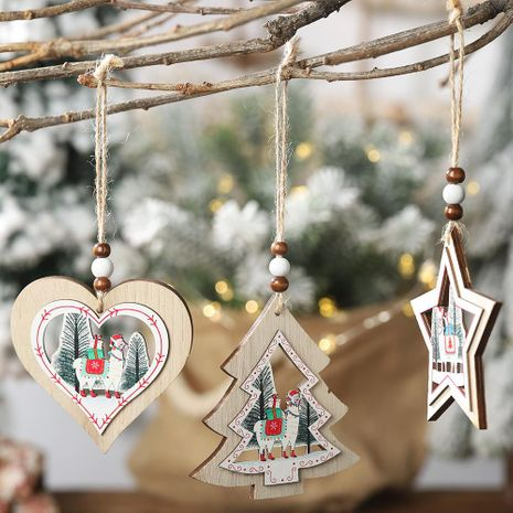 Christmas new wooden decorative alpaca hollow wooden pendant creative tree five-star hollow pendant NHHB182590's discount tags