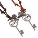 Vintage leather rope necklace womens long sweater chain alloy LOVE long key leather necklace NHPK182367