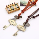 Vintage Long Cowhide Rope Necklace Sweater Chain Pendant Alloy Necklace NHPK182371