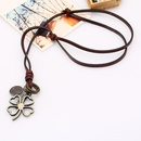 Vintage leather rope necklace womens long sweater chain alloy grass cowhide necklace NHPK182375