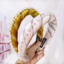 Korean new style velvet sponge pearl hair hoop headband solid color fabric hair accessories NHDM182686