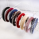New sponge hair hoop autumn and winter solid color pearl hair jewelry wholesale NHDM182691