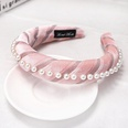 NHDM494276-Pink-gold-velvet-pearl-sponge-headband