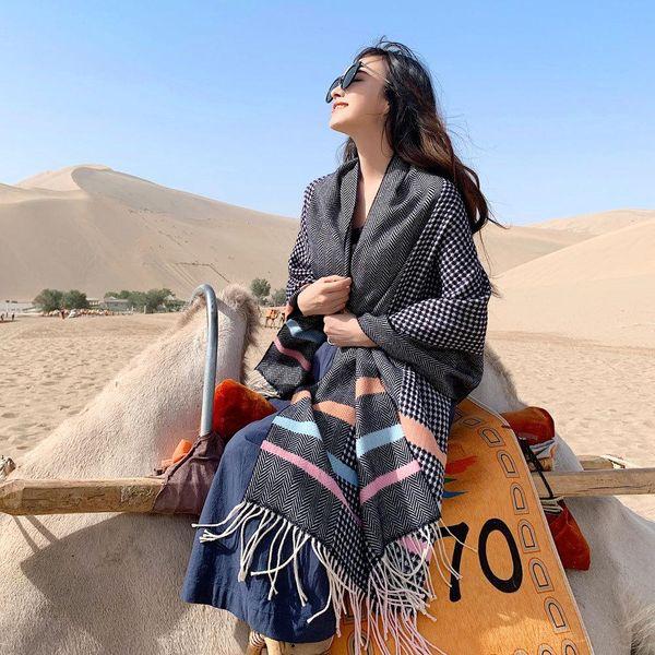 Herringbone plaid scarf winter new long thick warm jacquard shawl NHMN182860