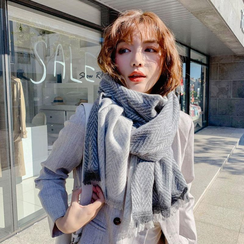 Women's Winter Long Thicken Student Warm Imitation Wool Tassel Bib NHMN182861