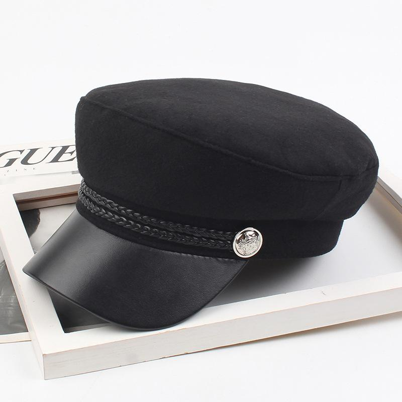 Winter hat female beret black leather eaves small fragrance style retro navy hat NHXO182843