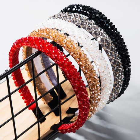 Fishing line handmade fine-edge cloth headband fashion super flash inlaid crystal headband NHLN182982's discount tags