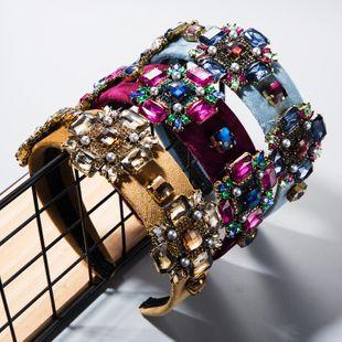 Hair Accessories Ultra Flash Glass Rhinestone Flower Gold Velvet Hoop Widens Retro Baroque Headband NHLN182981's discount tags