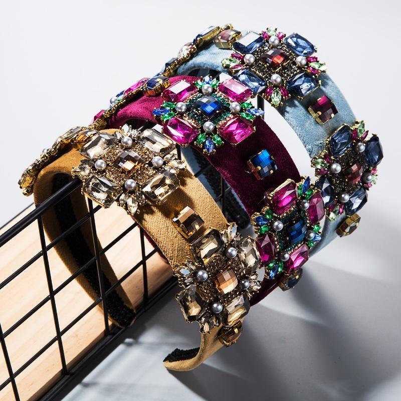Hair Accessories Ultra Flash Glass Rhinestone Flower Gold Velvet Hoop Widens Retro Baroque Headband NHLN182981