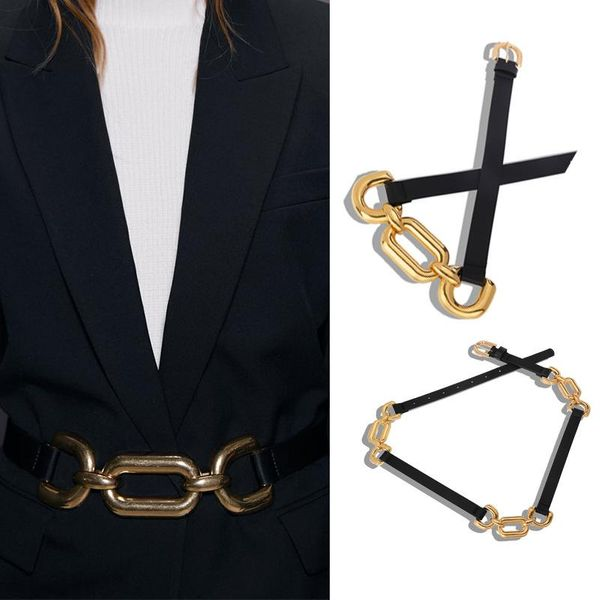 Alloy three-circle stitching belt fashion shooting waist chain atmospheric jewelry autumn and winter new clothing accessories NHJQ182943