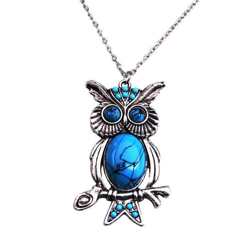 Vintage Turquoise Necklace Owl Pendant Long Sweater Chain Sweater Chain NHPV182903