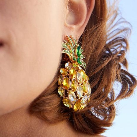Rhinestone Crystal Pineapple Earrings Individual Fruit Earrings NHJJ182933's discount tags