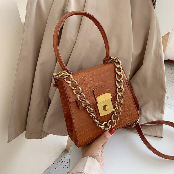 Fashion crocodile pattern chain handbag women's new simple lock solid color messenger shoulder small square bag NHPB183073