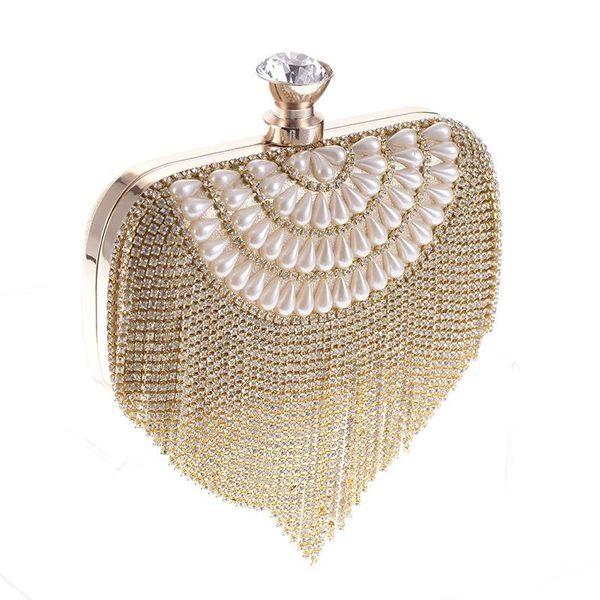 Fashionable women's bag tide bag with diamond craft bag water wave belt spike evening banquet bag NHYG183004