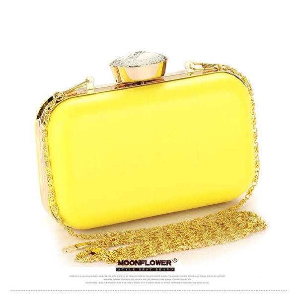 Dinner bag PU female fashion new spring and summer fluorescent candy color hard shell hand bag diamond shoulder bag lady NHYG183010