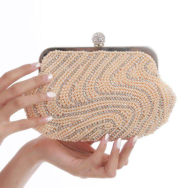 Pearl diamond dinner bag bride wedding clutch chain bag ring buckle ladies bag NHYG183026