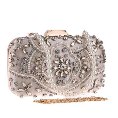 Women's new handmade beaded evening bag diamond dress evening bag clutch NHYG182987's discount tags