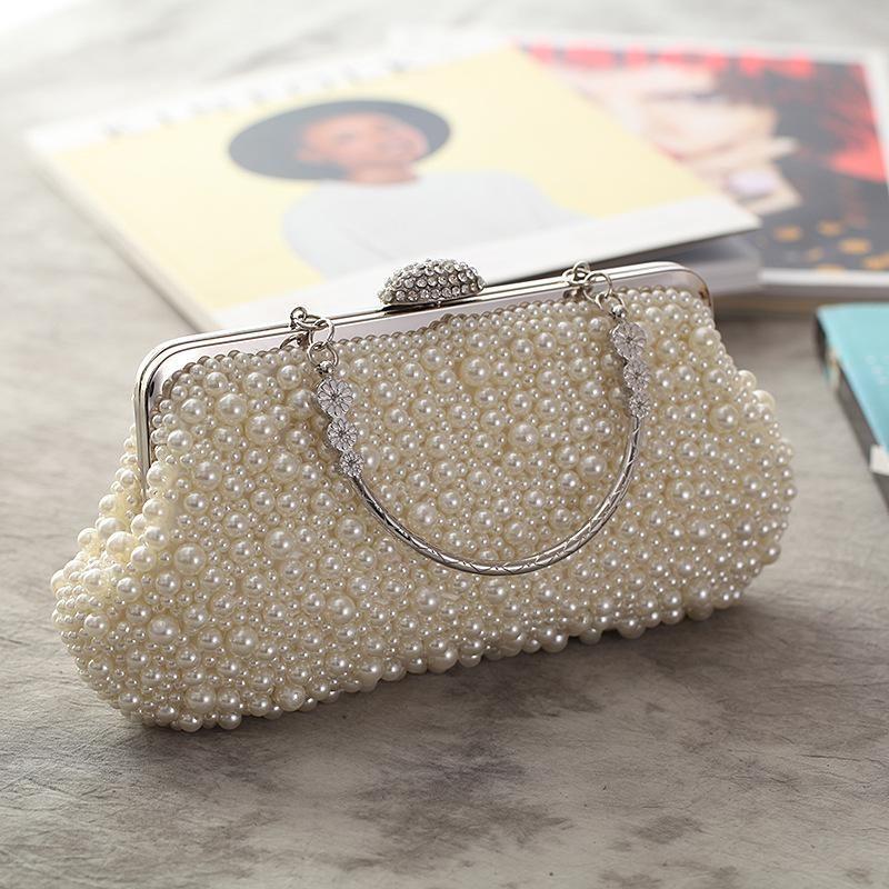 Bolso de mujer nuevo bolso de perlas hecho a mano bolso de noche de moda con asa de embrague NHYG182988
