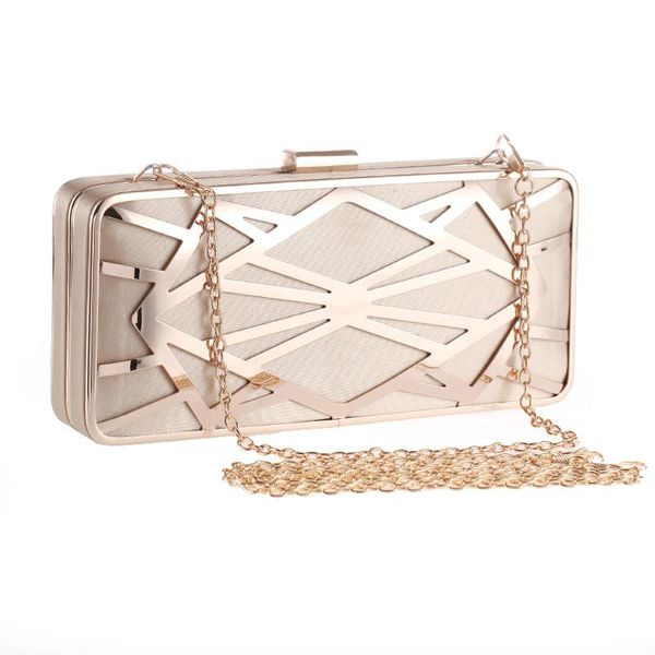 Fashion dinner bag metal hollow women's clutch bag polyester small square bag hard shell chain bag NHYG183023