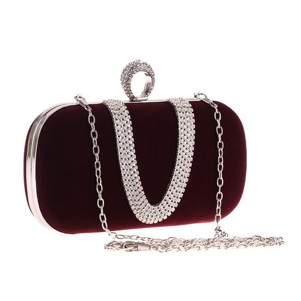 Fashion brand velvet cloth women's bag diamond finger dinner party bag U-shaped velvet bag NHYG183025