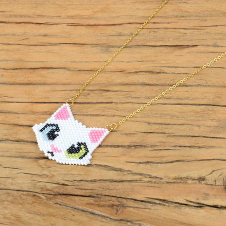 Fashion cute kitten head stainless steel plated rice beads woven necklace NHGW175078's discount tags