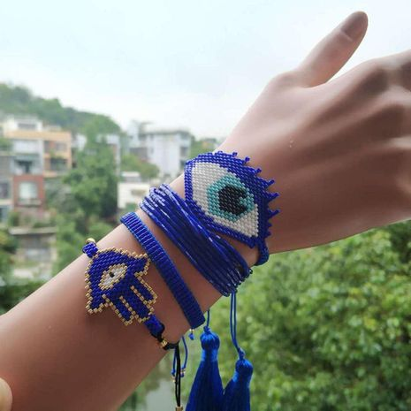 Blue Turkish Eye Set Hand Knitted Female Bracelet NHGW175101's discount tags