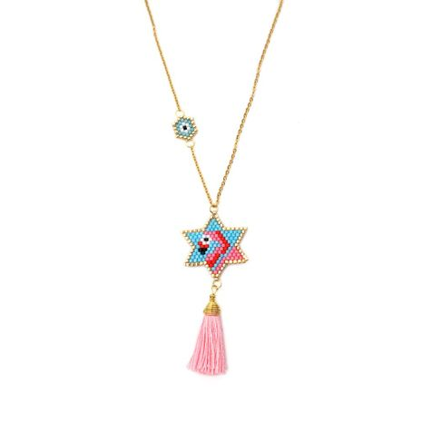 Ladies Necklace Beizhu Knitted Five-pointed Star Flamingo Eye Pattern Miyuki NHGW175127's discount tags
