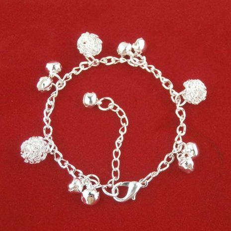 Silver bracelet national style new bracelet bell alloy ball plating thick NHDP175041's discount tags