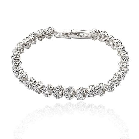 Diamond-studded full zircon bracelet crystal simple silver plated NHDP175046's discount tags