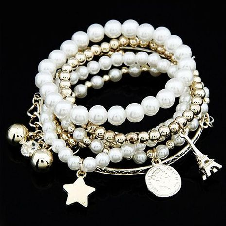 Pearl Vintage Bracelet Coin Six-piece Jewelry Multi-layer Elastic Bracelet NHDP175043's discount tags
