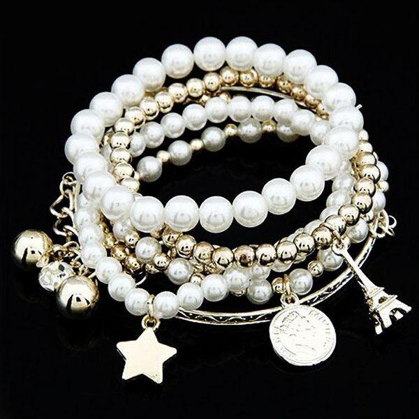 Pearl Vintage Bracelet Coin Six-piece Jewelry Multi-layer Elastic Bracelet NHDP175043