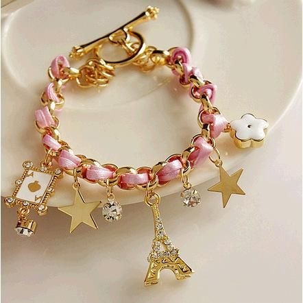 Fashion five-pointed star flower playing card A Paris Eiffel Tower crown leather rope woven bracelet anklet NHPV175178
