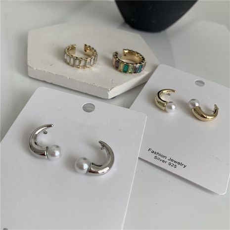 Bullhorn earrings color crystal stitching without pierced earrings NHYQ174949's discount tags