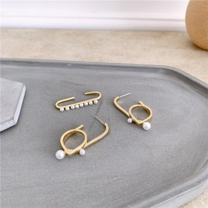925 silver needle ear hanging fashion temperament paper clip without pierced pearl NHYQ174976