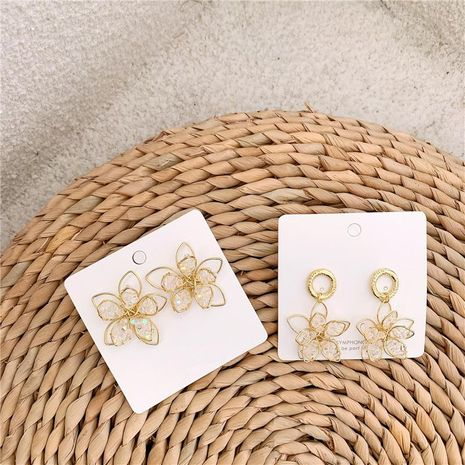 Crystal three-dimensional flower earrings NHYQ174978's discount tags