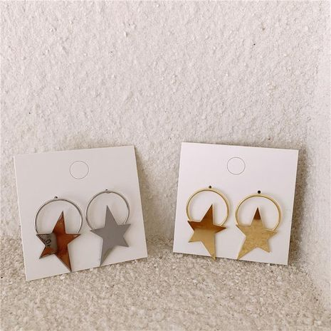 Metal cold wind, minimalist, irregular, five-pointed star, exaggerated big earring NHYQ174979's discount tags