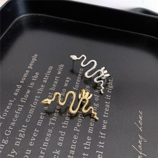 Metal ear bone clip earrings snake-shaped curved winding integrated NHYQ174998's discount tags
