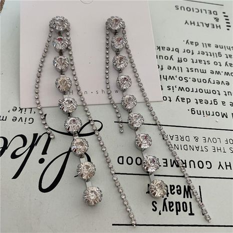 S925 silver needle earrings long rhinestone tassel high zircon zircon NHYQ175011's discount tags