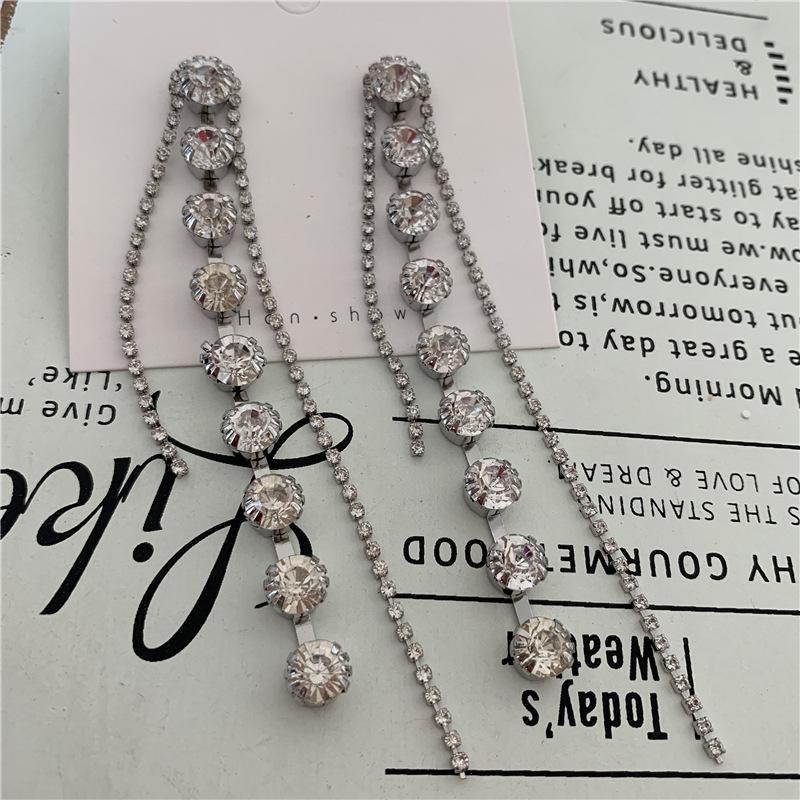 S925 silver needle earrings long rhinestone tassel high zircon zircon NHYQ175011