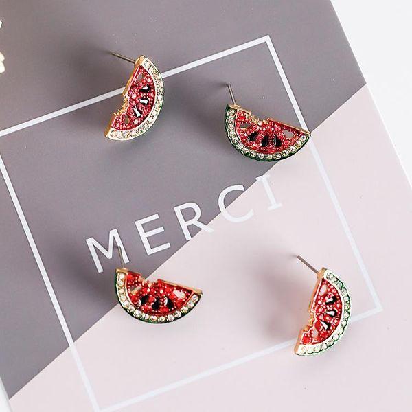 Diamond watermelon mini strawberry fruit earrings NHMS174903