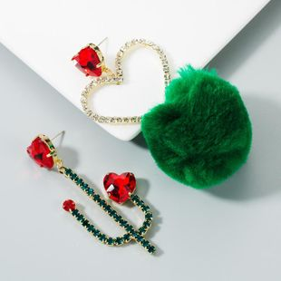 S925 silver needle alloy earrings female green cactus asymmetrical red love NHLN174854's discount tags